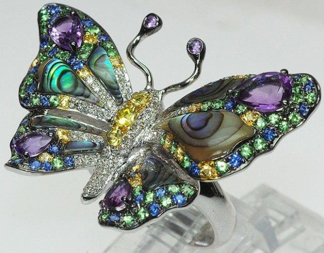 Colorful butterfly with amethyst