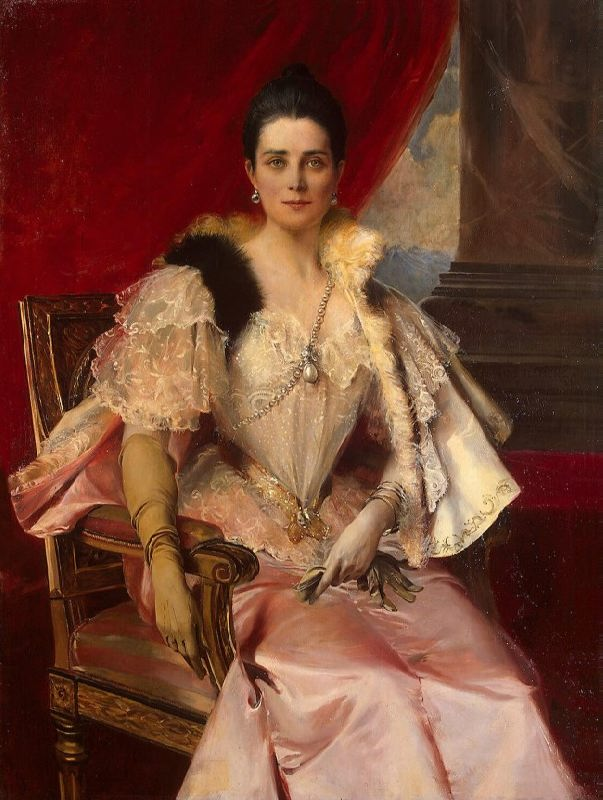 F. Flameng. Portrait of Princess Z.N. Yusupova with the famous pearl Peregrina, 1894