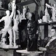 Great sculptor Mukhina in her studio