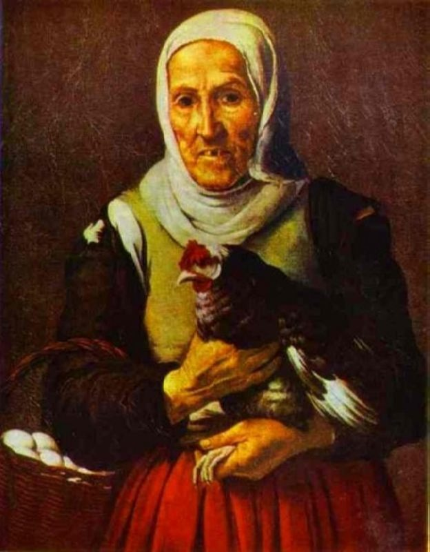 Old woman with a hen