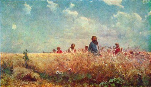 Peasant life by Grigory Myasoedov. Haymakers