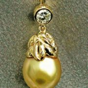 Pendant with yellow cultivated pearls, mid-20th century