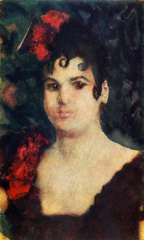 Portrait of T.S. Lyubatovich in the role of Carmen. 1890s