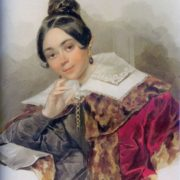 Portrait of an unknown woman in a fur coat. 1830s