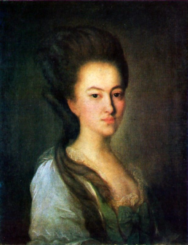 Portrait of an unknown woman in a light gray dress. The end of the 1770s