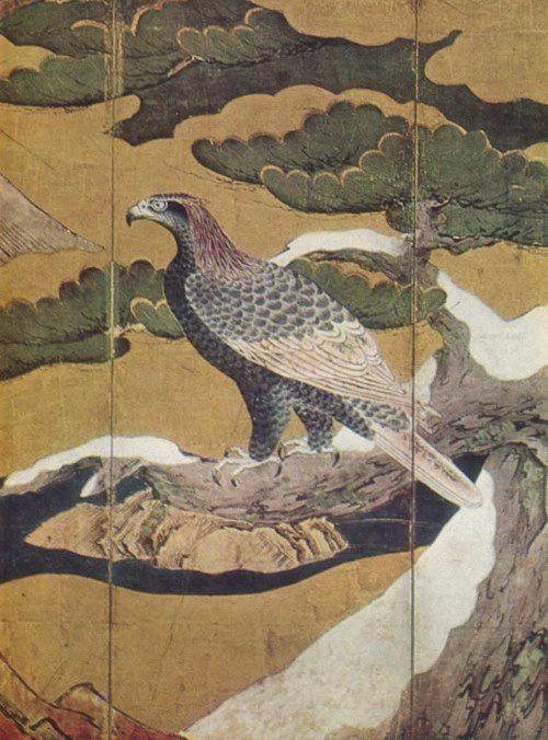 Amazing Japanese art. Kano eitoku. Eagle on a pine tree