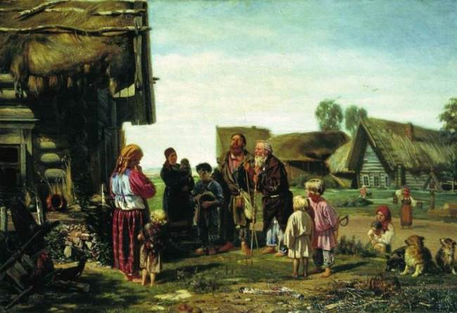 Beggars, passers-by, 1870