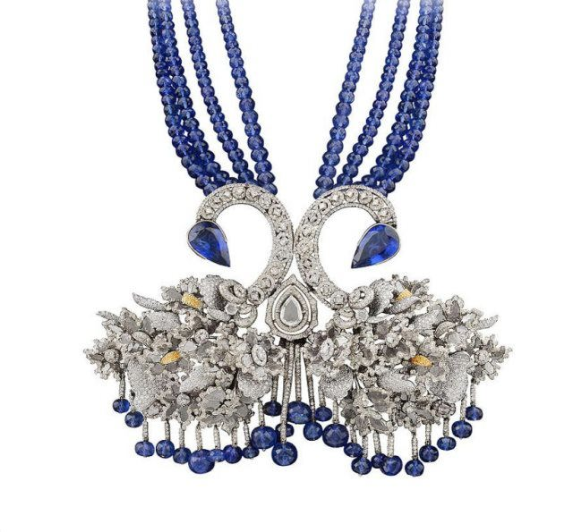 Bina Goenka swan necklace set with tanzanites, diamond slices and brilliant cut diamonds
