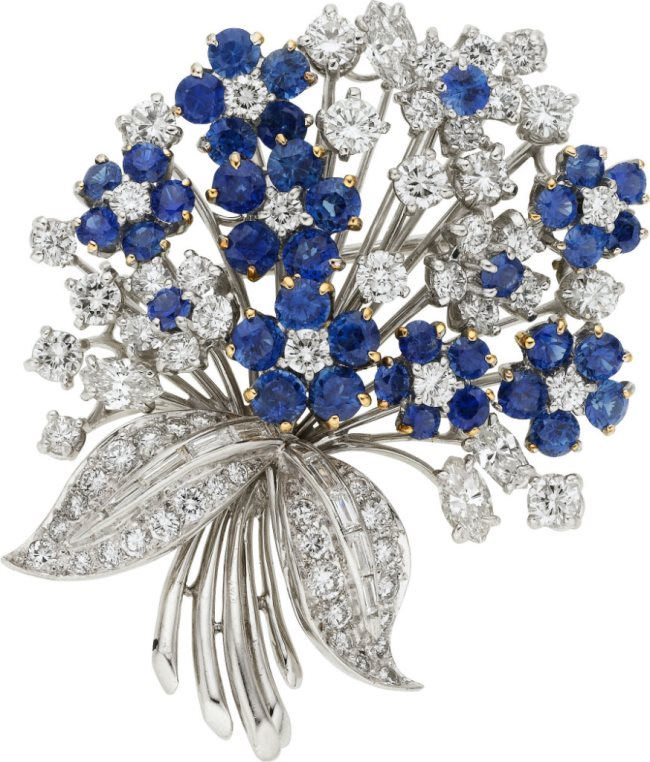 Bouquet brooch with sapphires