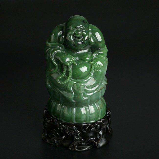 Buddha with beads. Green jade