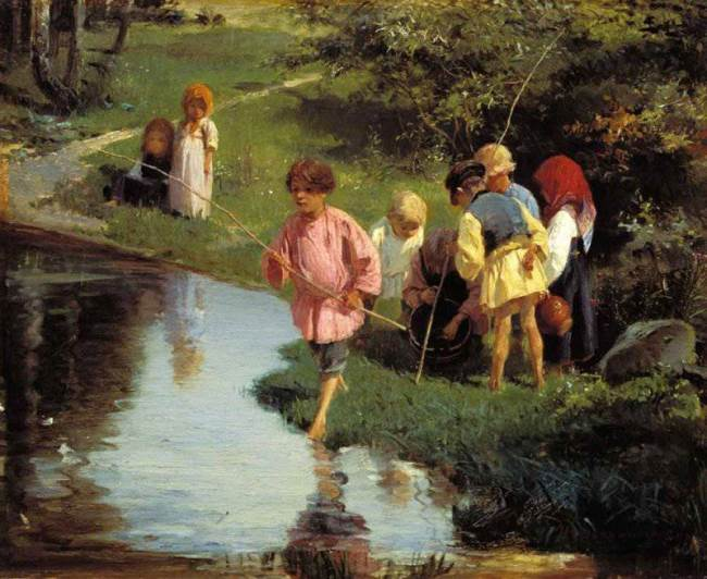 Children at fishing, 1882