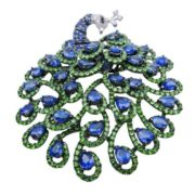 Diamond Sapphire Tsavorite Peacock Pin Brooch.