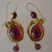 Earrings with garnets. Victorian era