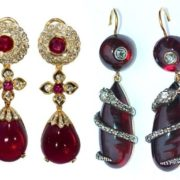 Earrings. Garnet. Pendants with diamond snakes. Gold, Silver. 1840