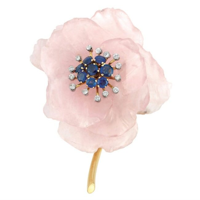Gold, Carved Rose Quartz, Sapphire and Diamond Flower Clip-Brooch.