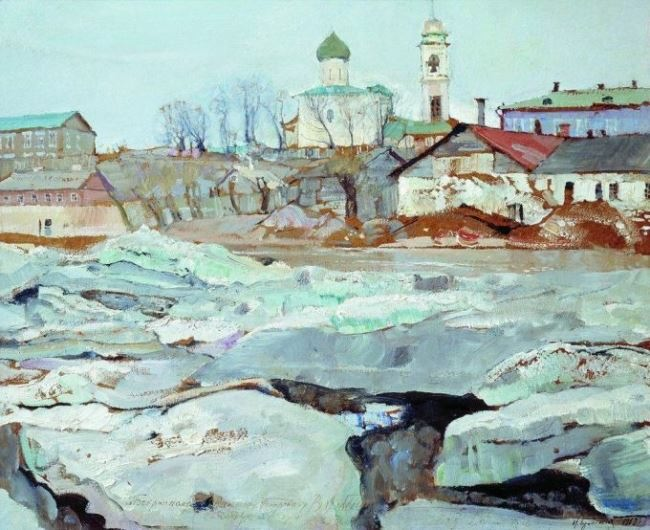 Ice drift in Pskov. 1913