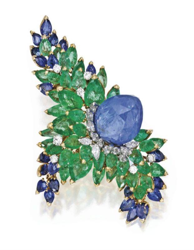 Karat Gold, Platinum, Sapphire, Emerald and Diamond Brooch, Marchak, Paris.