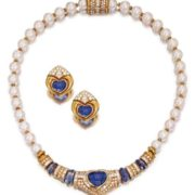 Karat Gold, Sapphire, Diamond and Cultured Pearl Necklace and Matching Earclips,