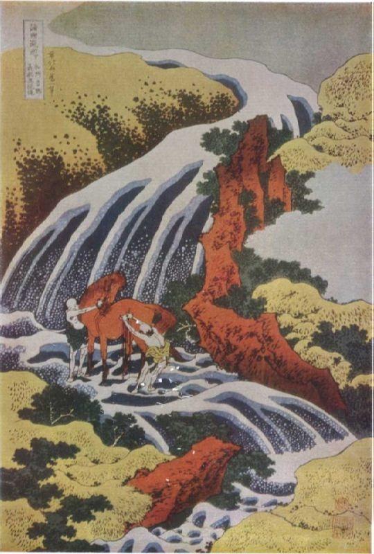 Katsushika Hokusai. Waterfall