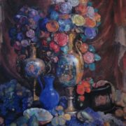 Nikolai Sapunov, Still Life with Vases, Artificial Flowers and Fruits