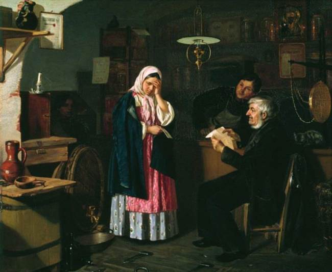 Reading a letter in a small shop, 1864