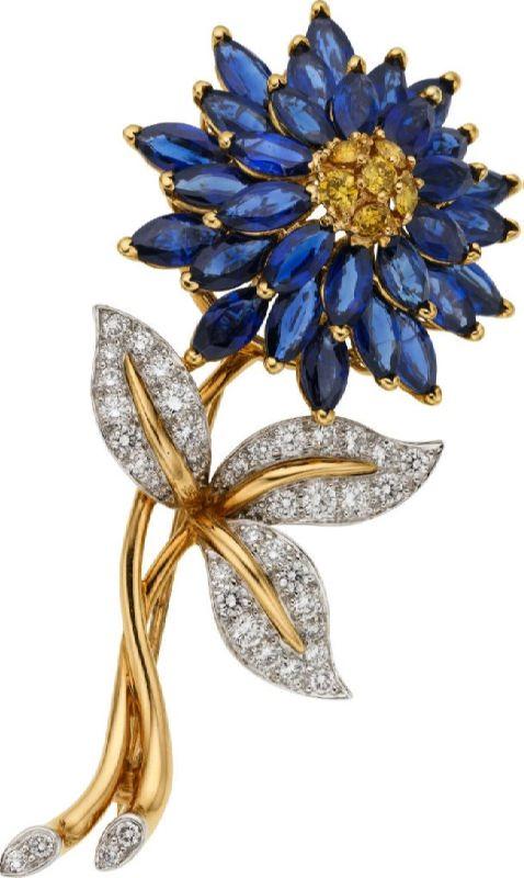 Sapphire, Diamond, Platinum, Gold Brooch, Oscar Heyman Bros.