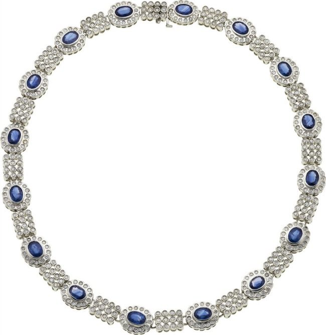 Sapphire, Diamond, White Gold Necklace.