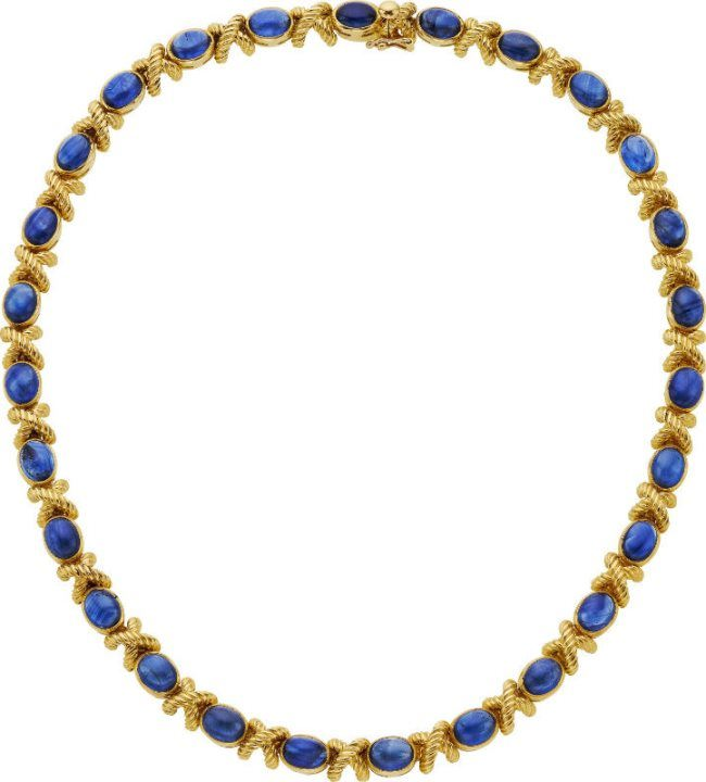 Sapphire, Gold Necklace.