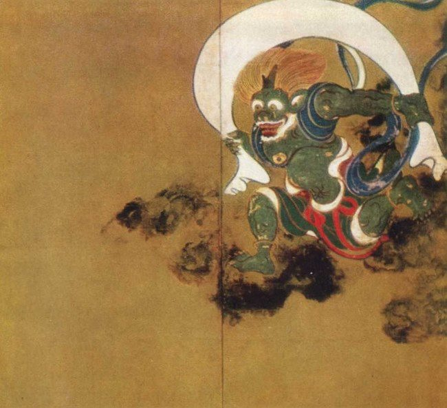 Tawaraya Sotatsu. Gods of wind and thunder. 1630