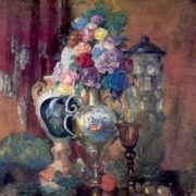 Vases and flowers on a pink background, 1910