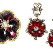 Victorian period. Earrings-flowers with garnets, petals-hearts, diamonds. Gold, Silver. 1880