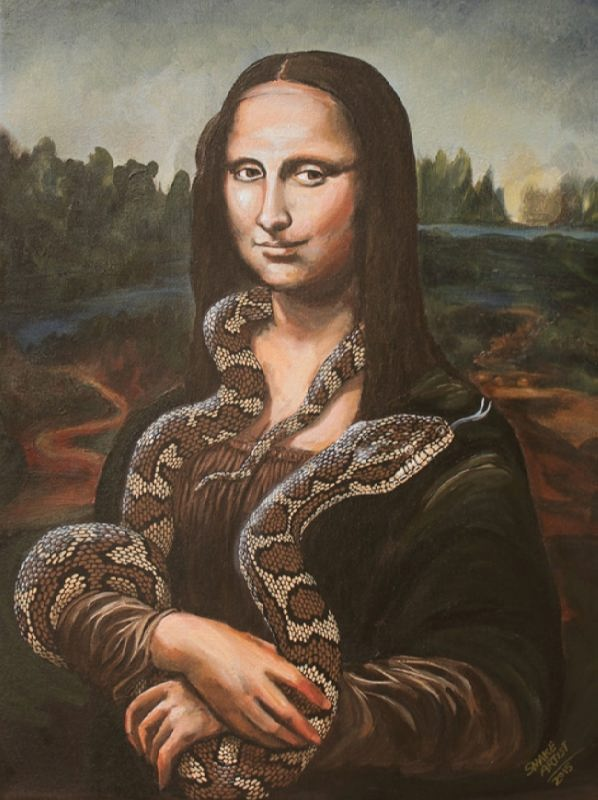Mona Lisa with a snake by Bill Flowers