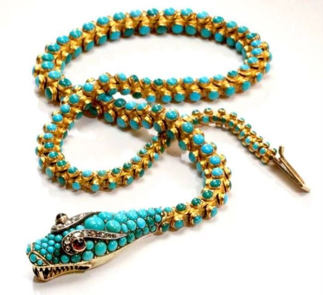 Victorian Turquoise Snake. France, late 19th century