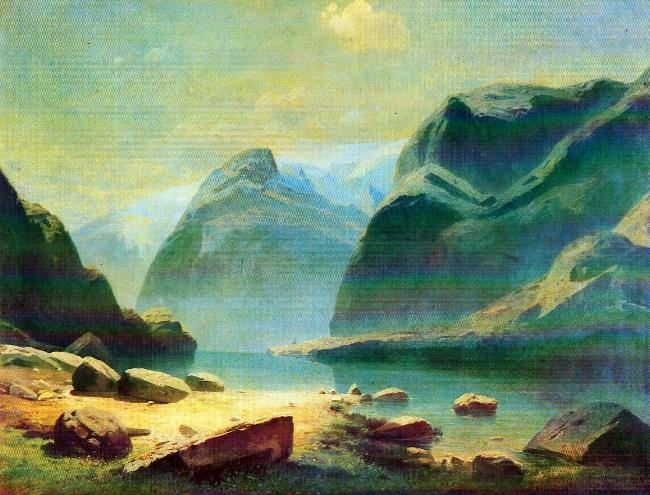 A lake in the mountains of Switzerland. 1866