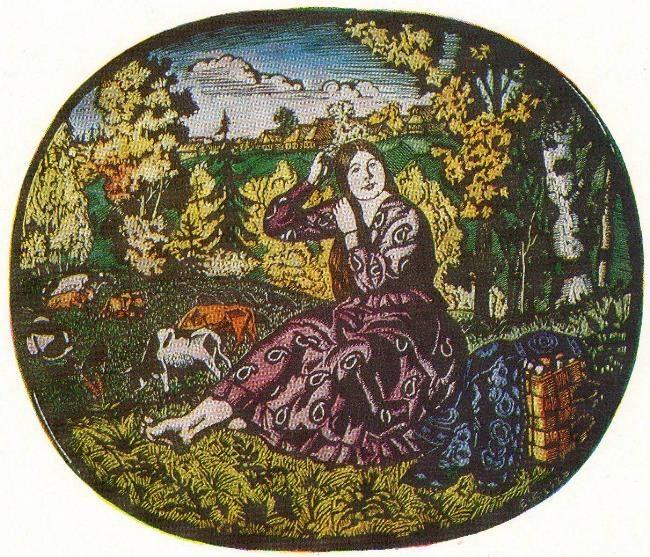 Autumn (painted linocut) 1926
