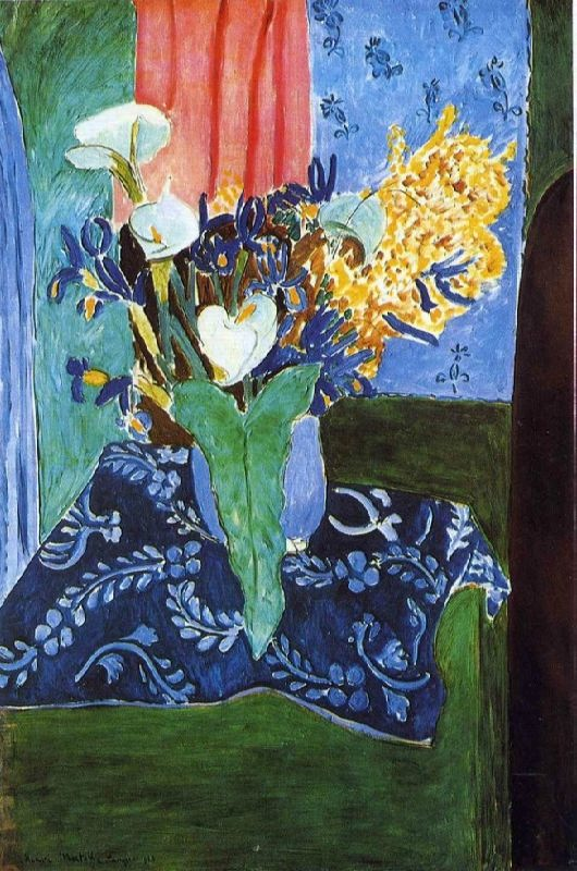 Blue vase with flowers on a blue tablecloth, 1913