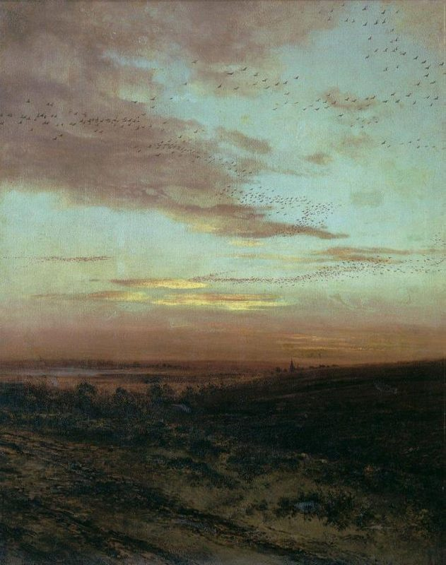 Evening. Flight of birds. 1874