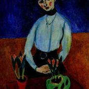 Girl with tulips (portrait of Jean Vaderin). 1910