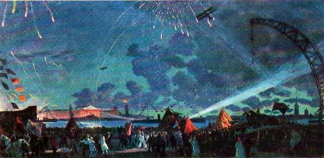 Night feast on the Neva. 1923