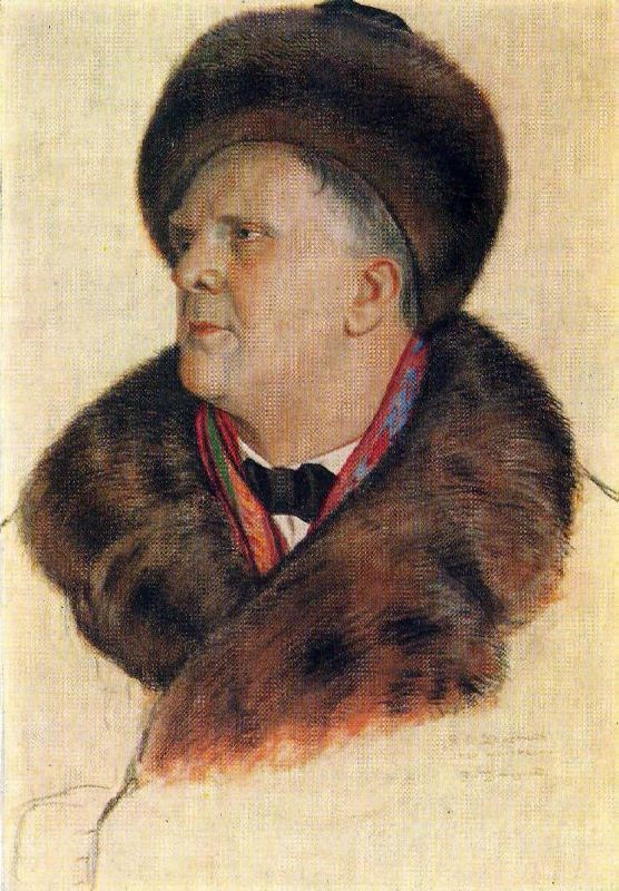 Portrait of F.I. Chaliapin. 1920-21