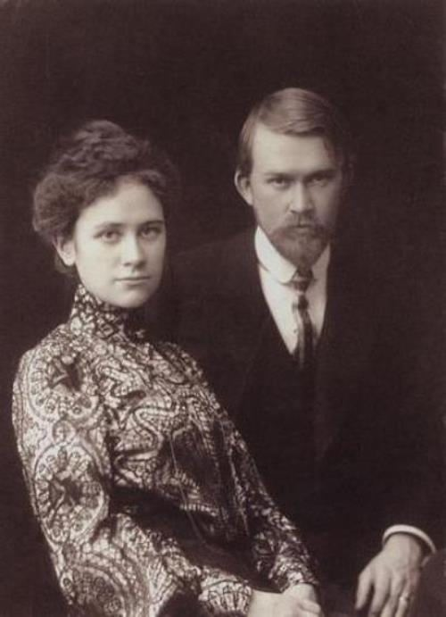 Russian artist Boris Kustodiev and his wife