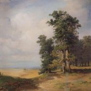 Summer landscape with oaks