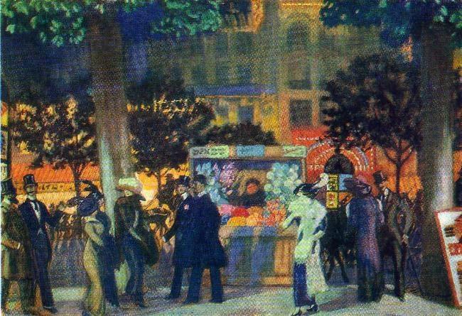 The Parisian Boulevard at night. 1913