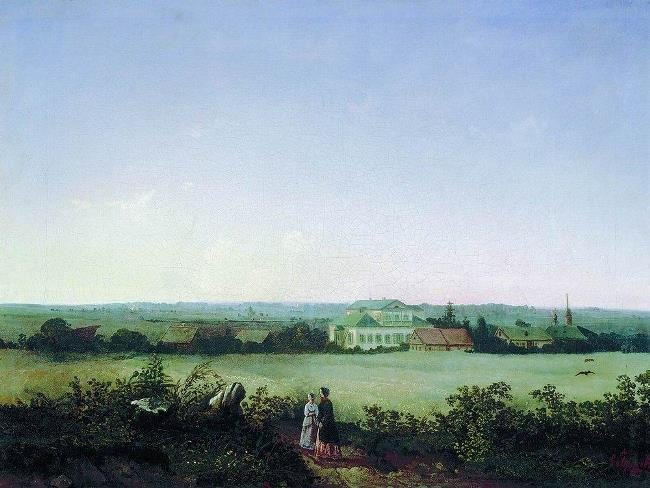 View in the vicinity of Moscow with a manor and two female figures