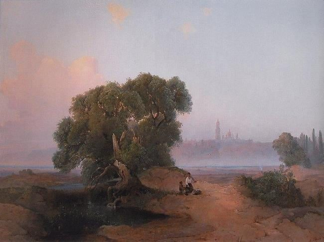 View of Kiev from the Dnieper to the Pechersk Lavra. 1852