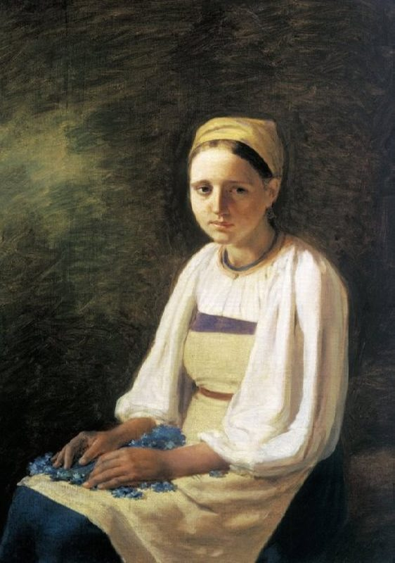 A peasant woman with cornflowers. 1820s, the State Tretyakov Gallery