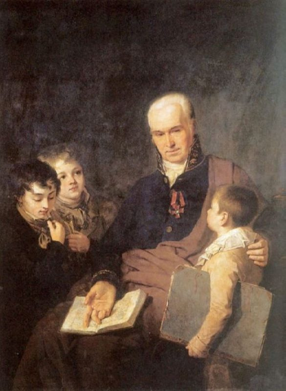 Kirill Ivanovich Golovachevskogo, inspector of the Academy of Arts, with three pupils, 1811