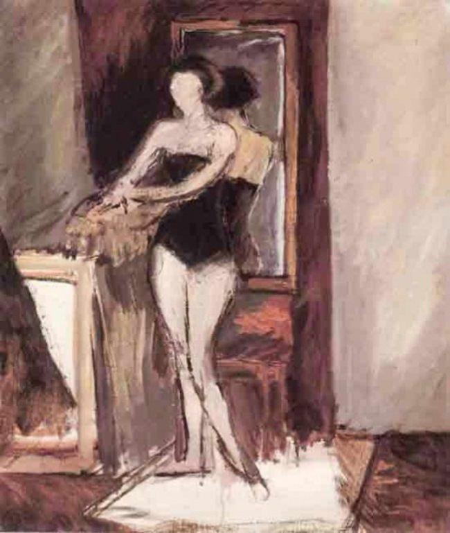 Model in front of a mirror. Lidochka, 1930