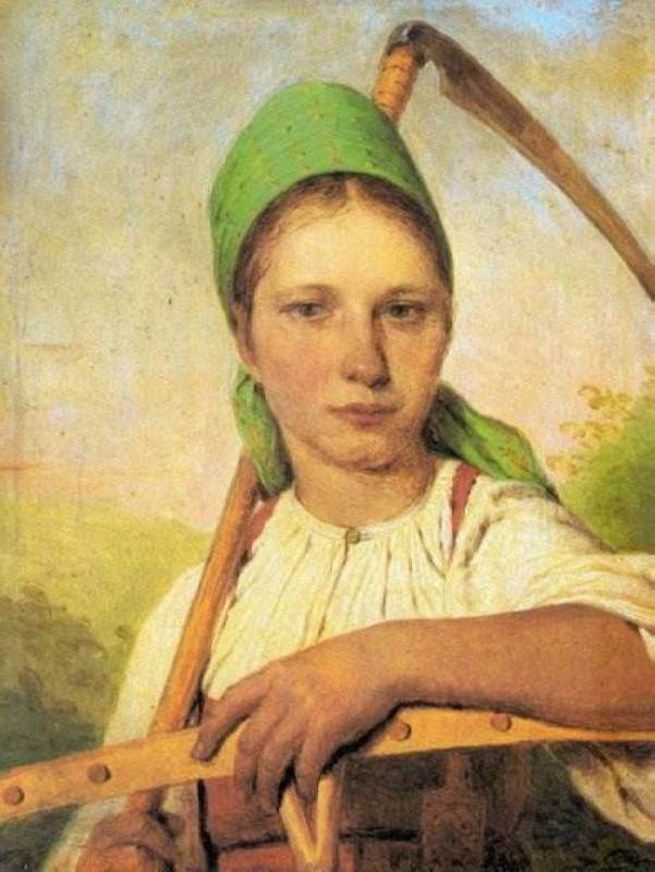 Peasant with a scythe and rake