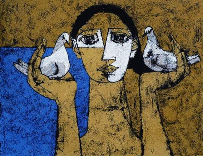 Jamil Naqsh. Painting Gallery. Woman and pigeons, 2005